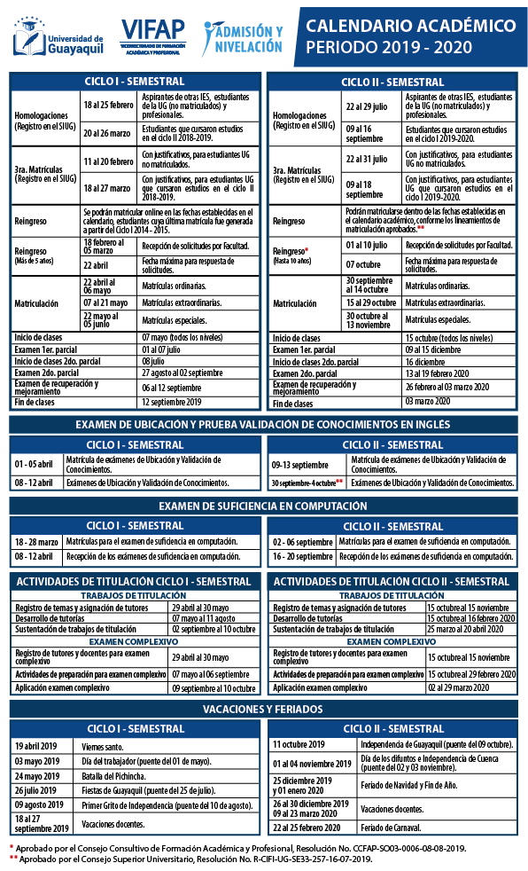 Calendario Agosto 2019 Julio 2020.Calendario Academico 2019 2020 Actualizado Universidad